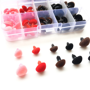 70 шт./кор. розовый/красный/черный/коричневый многоцветный Флокирование треугольный безопасные игрушечные Треугольники бархатный носик животных для медведя марионетка куклы игрушки