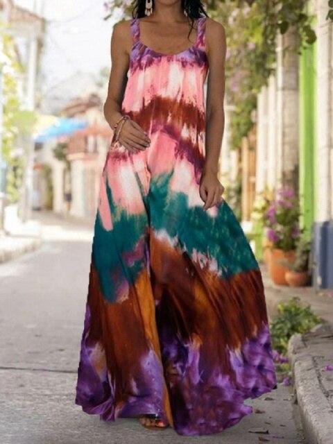 2021 Summer Women Long Maxi Dress Bohemian Suspender Strapless Mop Robe Tie Dye 3D Printed Sleeveless Vestido New Design Female 1