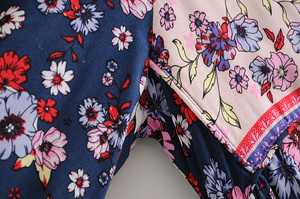 Image 4 - Vintage Chic women flare sleeve purple Floral print beach Bohemian v neck Maxi dress Ladies rayon Summer Boho dress