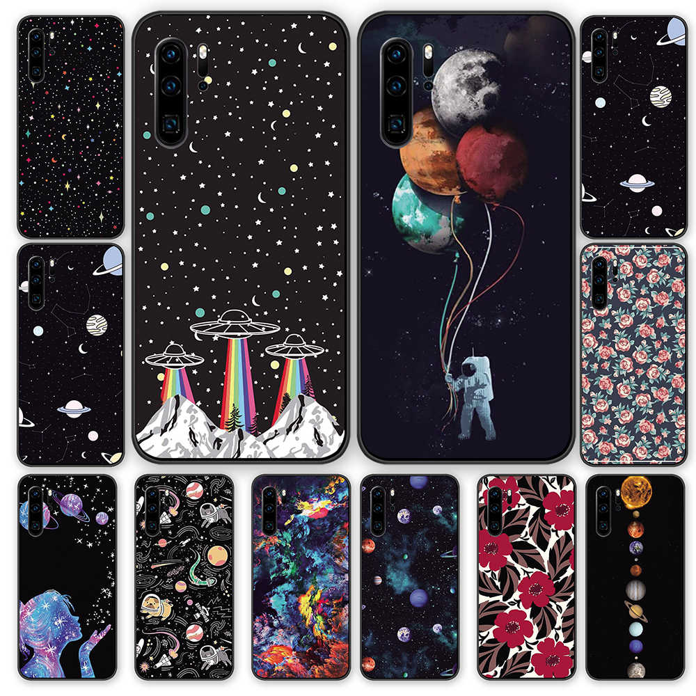 cosmos space Black TPU Cases Cover For Huawei P40 P30 P20 P10 Mate 10 20 30 Pro Lite