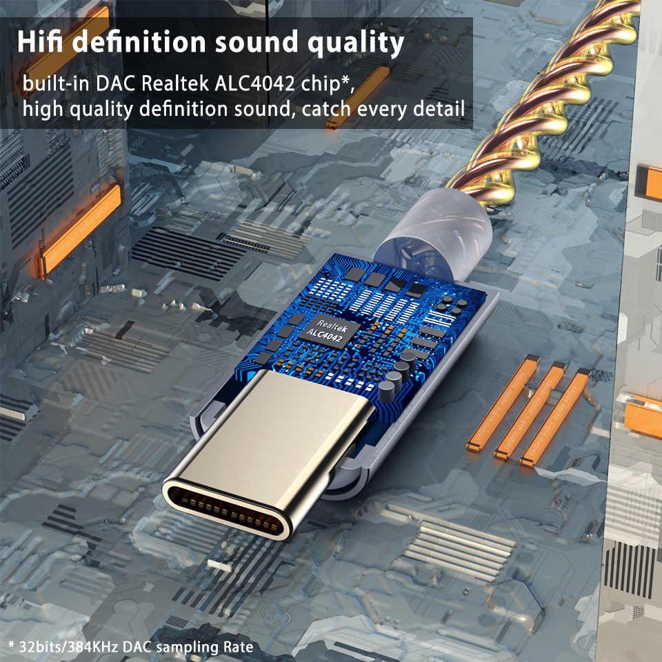 Wzmacniacz słuchawkowy HIFI DAC rodzaj USB C na gniazdo Jack do słuchawek 3.5mm adapter audio 32bit 384kHz dekoder cyfrowy konwerter AUX telefon