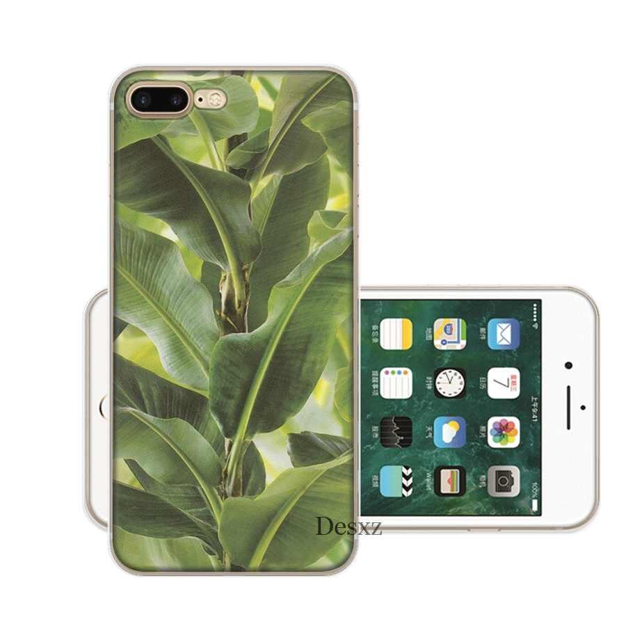 حقيبة هاتف محمول ل فون X XS ماكس XR 6 6S 7 8 زائد 5 5S SE الصلب غطاء روز زهرة الفاوانيا الموز يترك قذيفة