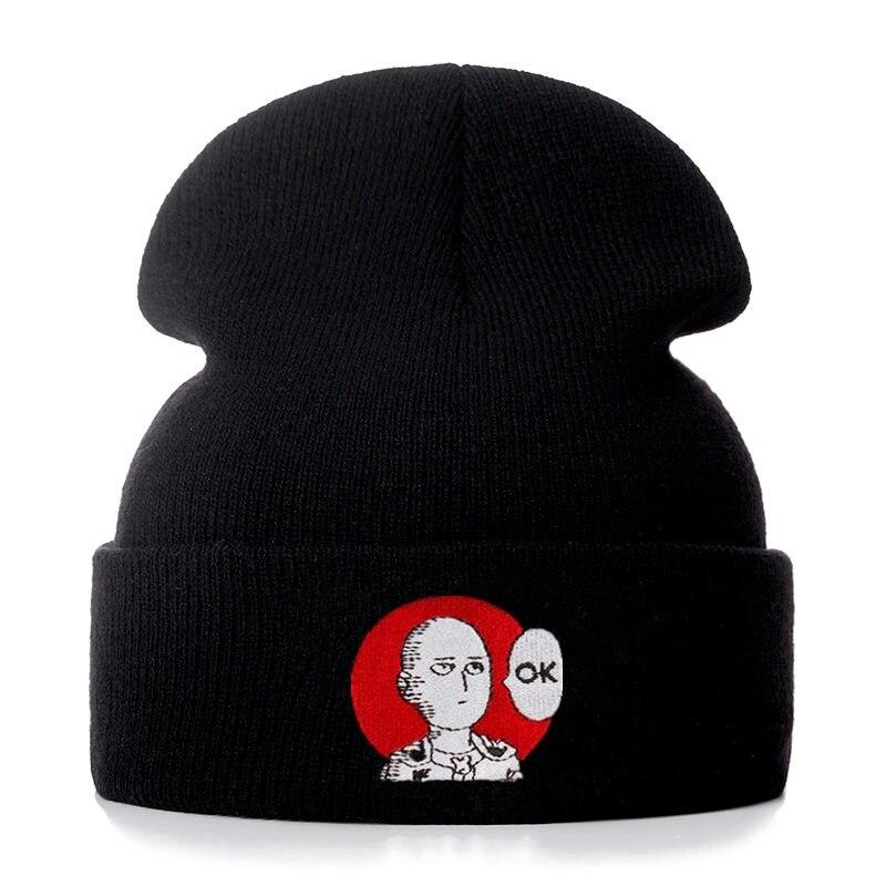 Хлопковые повседневные облегающие шапки ONE PUNCH для мужчин и женщин, вязаная зимняя шапка, однотонные шапочки в стиле хип-хоп, шапка унисекс