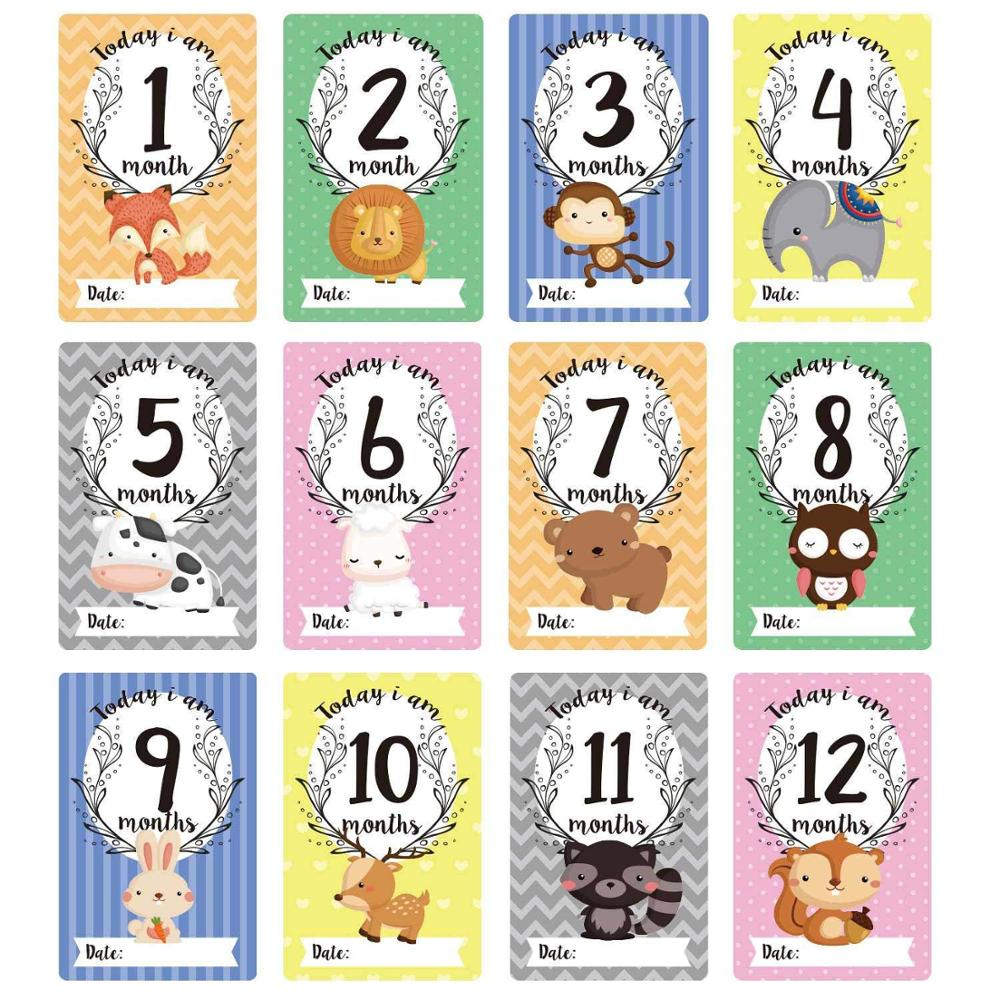 12PCS Baby Monthly Milestone Stickers 1-12 Months Growth Record Photograph Stickers Cards DIY Commemorative Photo Booth Props