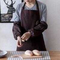 Styl japoński haft do domu  do kawy bez rękawów malowanie przeciwporostowe ubrania robocze Zakka kawiarnia kuchnia piekarnia fartuch w Zarękawki od Dom i ogród na