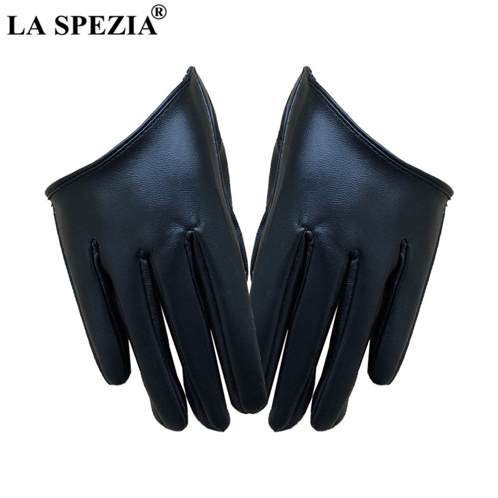 LA SPEZIA Stage Party Ladies Gloves Half A Palm Gloves Women Black Red Silver Gold Leopard Female Fashion Golve Guantes