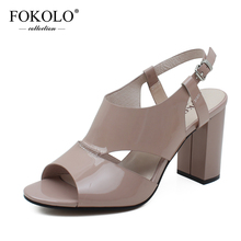 цена FOKOLO Summer Sandals for Women Open Toe Patent Leather Buckle Strap High Heels Fashion Handmade Genuine Leather Lady Shoes L22 онлайн в 2017 году