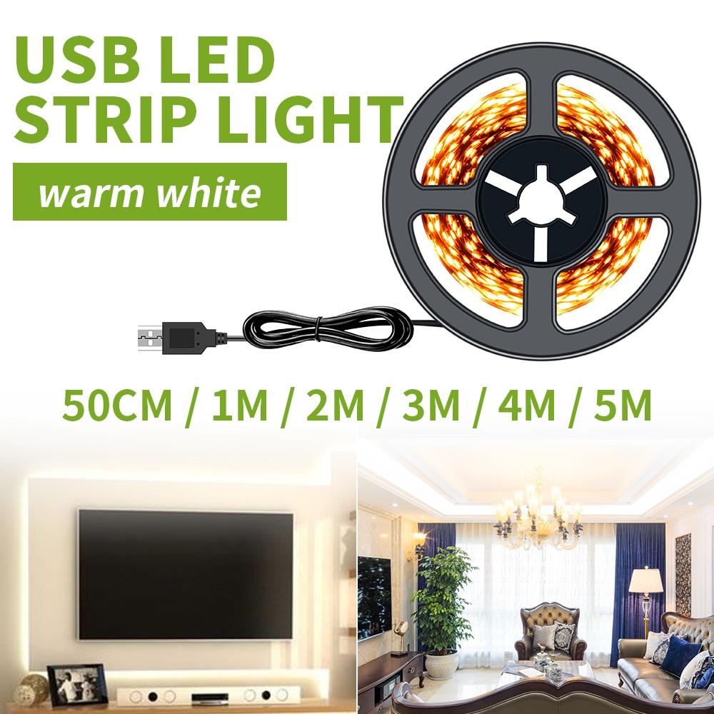LED Strip USB 2835 DC5V Tasma LED Light Flexible 50Cm 1M 2M 3M 4M 5M 60LEDs/M Strip TV Background White Home Decoration Lamp