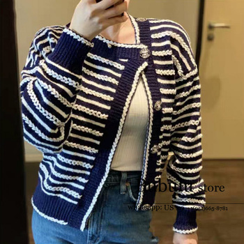 luxury design 2020 New Graceful Women sweaters Striped navy blue Loose round Neck Long-Sleeve Knitwear sweater Jumpers Cardigan khaki splited design round neck irregular sweater