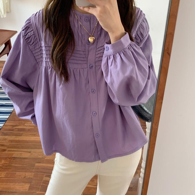 Hac1ba8be812b40d5ad35cc2a2b92d715D - Spring / Autumn Korean O-Neck Long Sleeves Pleated Solid Buttons Blouse