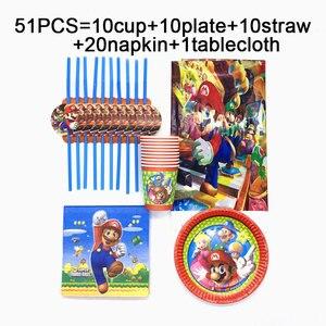 Mario Bros nappes jetables | Ensemble de 51 pièces, gobelets assiettes pailles serviettes, Mario Bros fête d'anniversaire service de table, fournitures de table