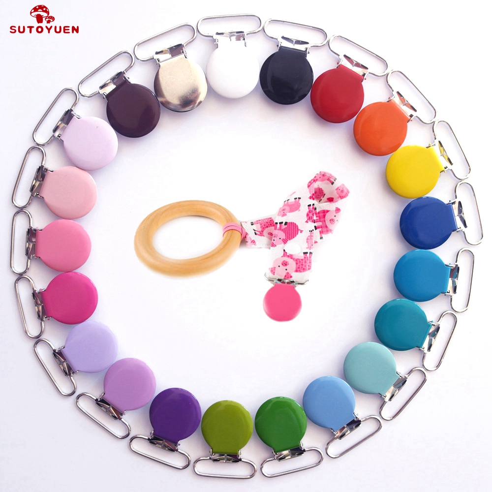 Free Shipping Wholesale 500pcs Metal Round Top Pacifier Holders Mixed Colors Enamel Pacifier Clips / Suspender Clips Suppliers