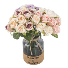 New Fashion 12pcs/bunch Bridal Roses Bouquet Artificial Fake Flowers Wedding Home Decoration Accessories Silk Flores Gifts 25cm