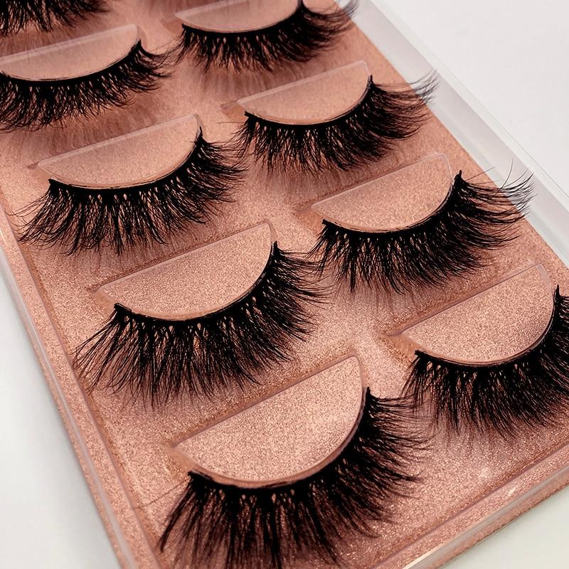 NEW 5 pairs long Natural Mink False Eyelashes Cross Dense Handmade Cotton Stalk Eye Lashes Date Make-up Mink Fake Eyelashes 1