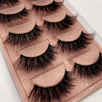 NEW 5 pairs long Natural Mink False Eyelashes Cross Dense Handmade Cotton Stalk Eye Lashes Date Make-up Mink Fake Eyelashes 1