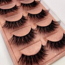 Novo 5 pares de longo natural vison cílios postiços cruz densa artesanal algodão talo olho cílios data maquiagem vison cílios falsos
