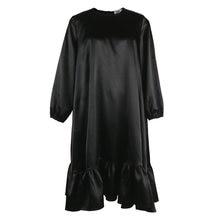 Черное платье размера плюс для женщин свободное с круглым вырезом
