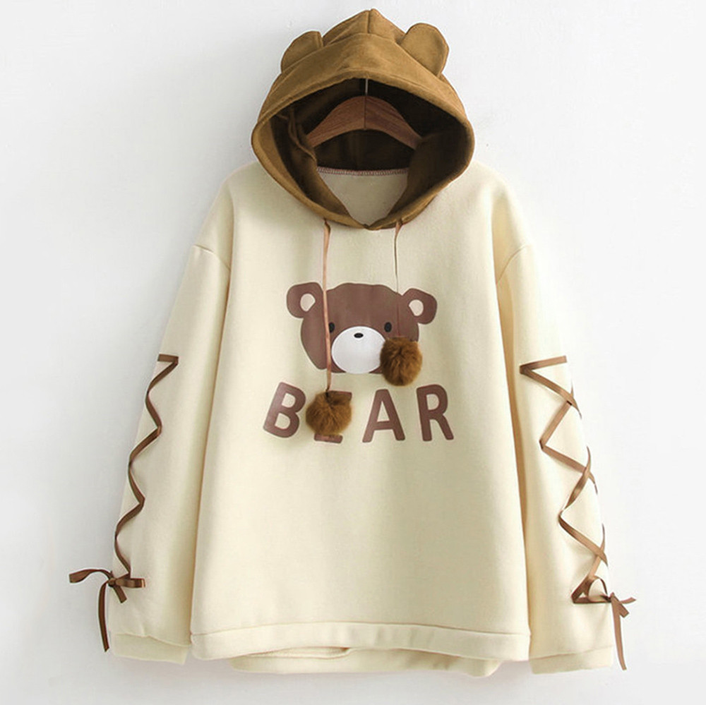 Hoody Women Wear A Bear Cap Top Long Sleeve With A Ribbon Hair Ball Cute Sweatshirt Kawaii Hoodies Streetwear Moletons #D9