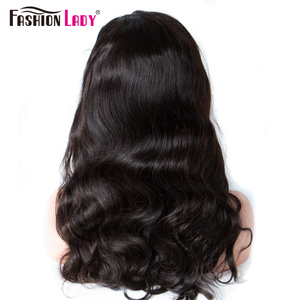 Image 4 - グルーレスレースフロントウィッグファッション女性事前摘み取らヘアライン人毛ウィッグボディウェーブための女性かつら