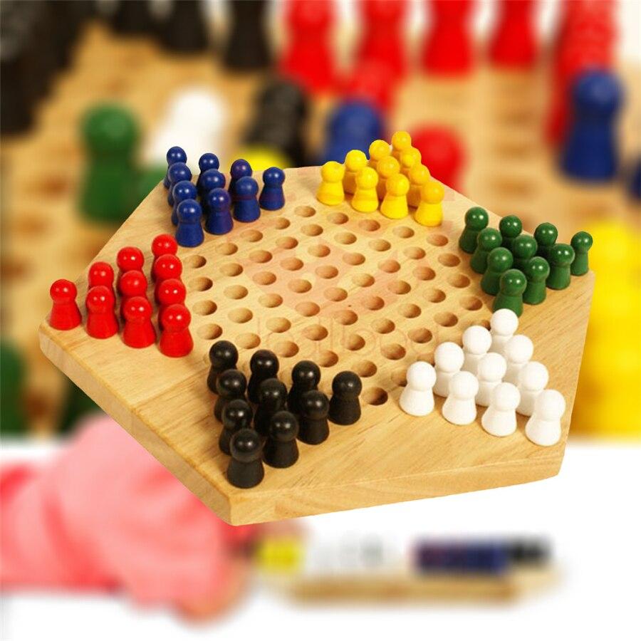 Jogo de Xadrez Educacional de Madeira Jogo da Família Chinês Conjunto Placa Crianças Clássico Checkers Estratégia Peças