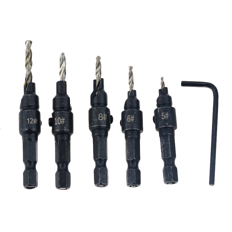 5pcs Countersink Drill Woodworking Drill Bit Set Drilling Pilot Holes For Screw Sizes #5 #6 #8 #10 #12 Hex Shank