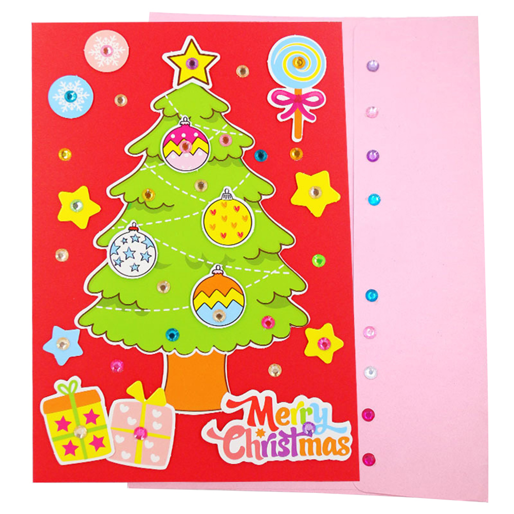 5 Pcs Children DIY Handmade Christmas Card Kindergarten Baby Santa Claus 3D Greeting Card Craft Educational Toy Gift Hot Sale