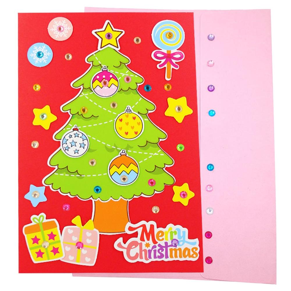 5 Pcs Handmade DIY Christmas Card Children 3D Greeting Card Craft Educational Toy Kindergarten Baby Santa Claus Snowman Toy Gift