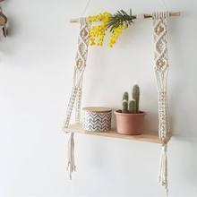 1pc estilo bohemia tecido parede de madeira pendurado prateleira parede grânulo clapboard decoração crianças crianças loja roupas sala expositor