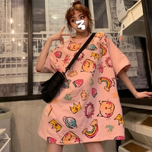 Long Clothing T-shirt Preppy Style Cartoon Print Tops Round Neck Short Sleeve Loose Plus Size Twill Casual Women's Tees цена в Москве и Питере
