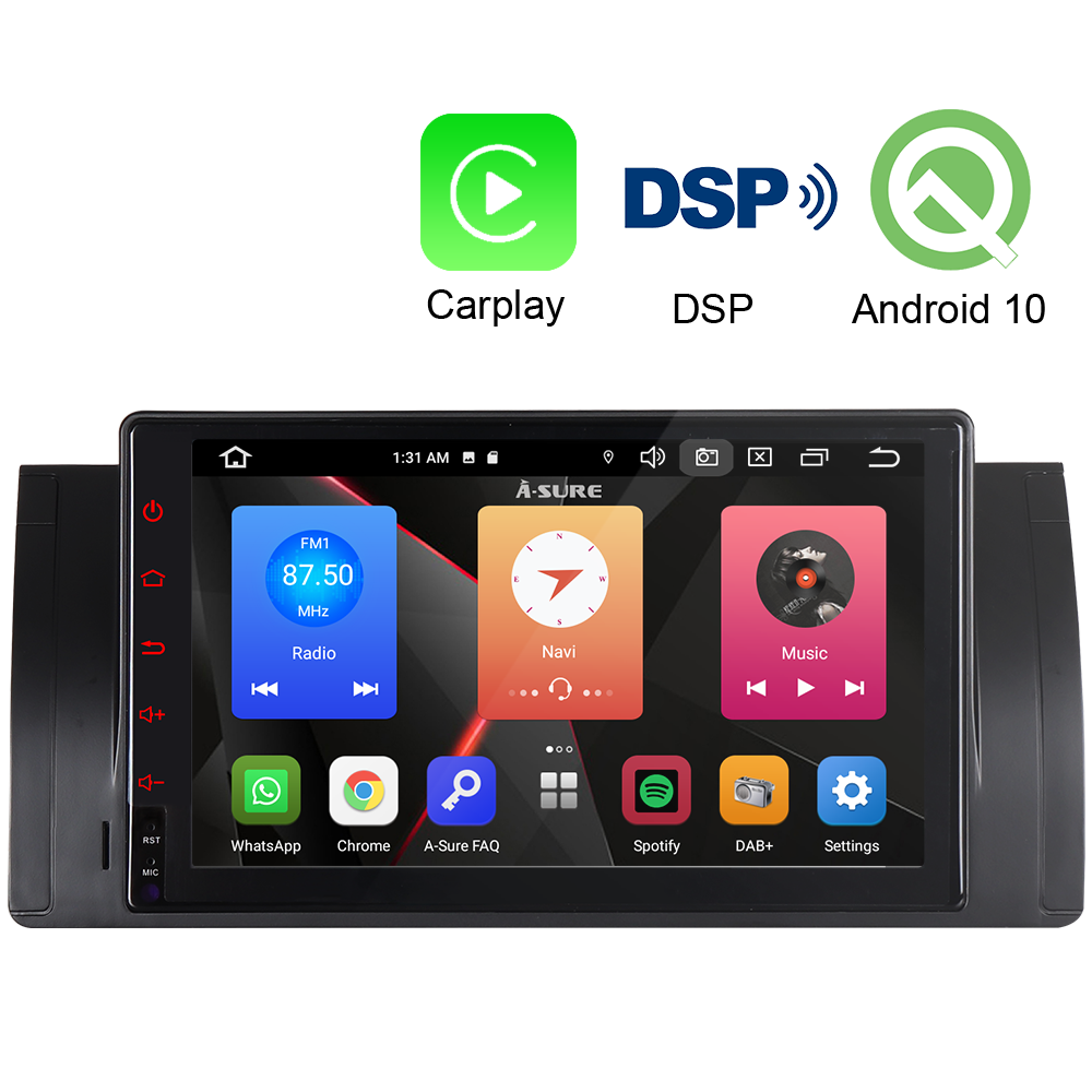 A-Sure 2 Din 9'' CarPlay Car Multimedia Android 10.0 Auto Radio DSP GPS Stereo DVD Navigation For BMW E39 E53 E38 X5 M5 5er 7er image