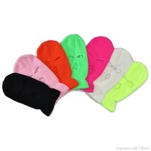 Men Women Balaclava Mask Three Hole Full Face Cover Neon Solid Color Knitted Winter Warm Outdoor Cycling Ski Beanie Hat M24 21