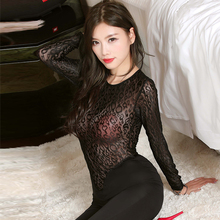 Mesh Jumpsuits Lingerie Bodystocking Tights Lace Open-Crotch Long-Sleeve Full-Body See-Through