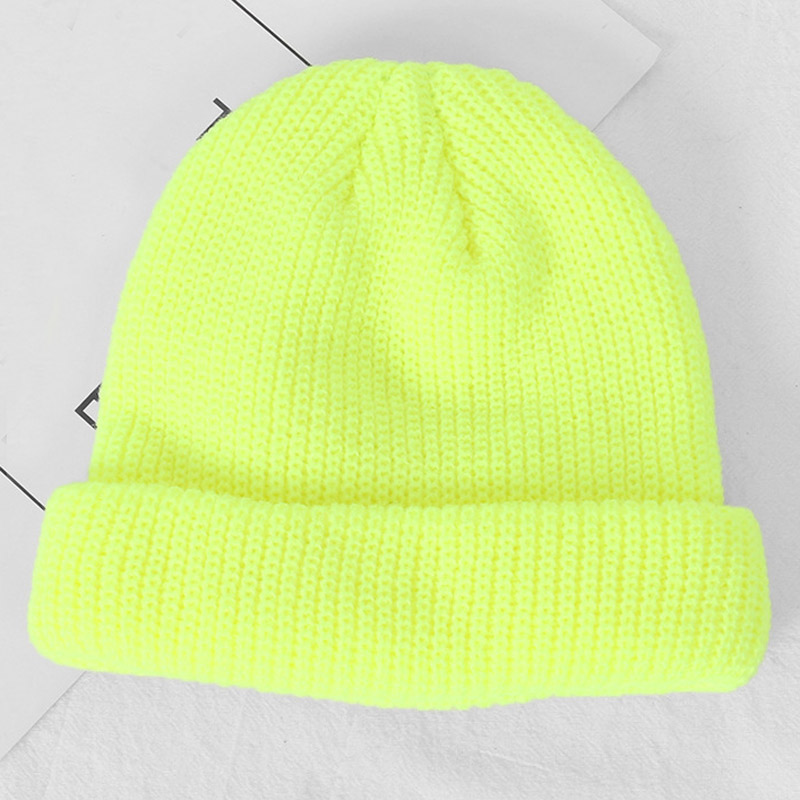 Fashion Streetwear Short Knit   Beanie   Patch Cuff Winter Hat for Men Women Neon Yellow Orange Pink Lavender lt.green