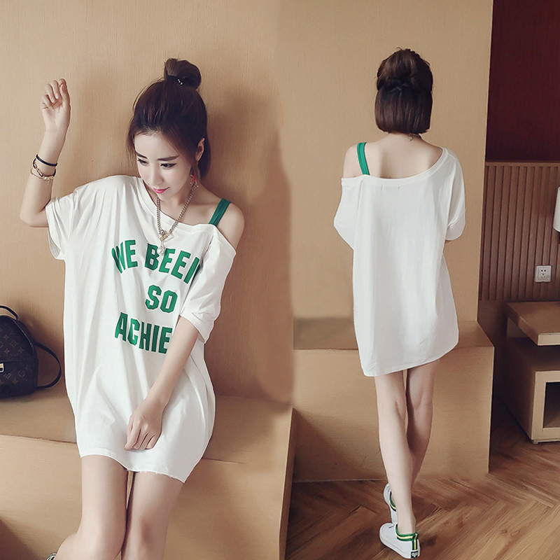 2017 New Style Nightgown Women's Summer Thin Qmilch Short Sleeve Exposed Shoulder Skirt Summer Cute GIRL'S Outer Wear Lettered S