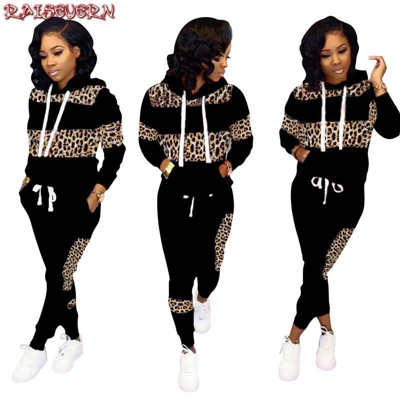Women Fall Winter Leopard Pathwork Hooded Long Sleeve Sweatshirts Hoodies Warm Pants Two Pieces Sets Tracksuits Outfits 2019