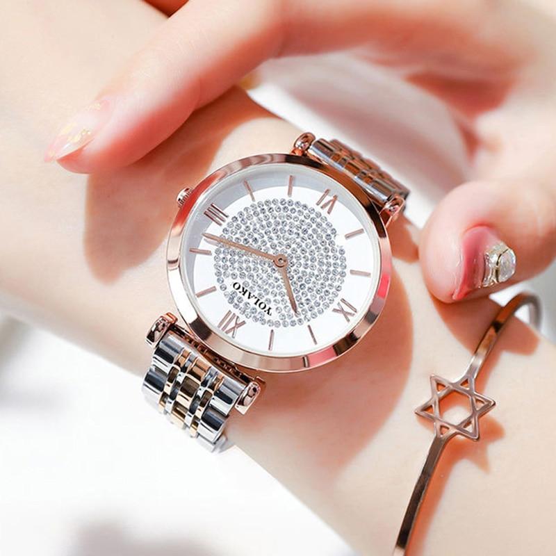 Luksusowy kryształ kobiety bransoletki z zegarkiem 2019 Top marka panie diamentowy zegarek kobieta wodoodporny zegar relogio femininozegarek damski 1
