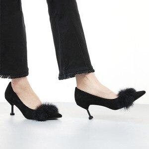 Женская обувь 2020, модные туфли на высоком каблуке, сезон весна-осень, замшевые туфли на высоком каблуке из кроличьего меха, привлекательные ...