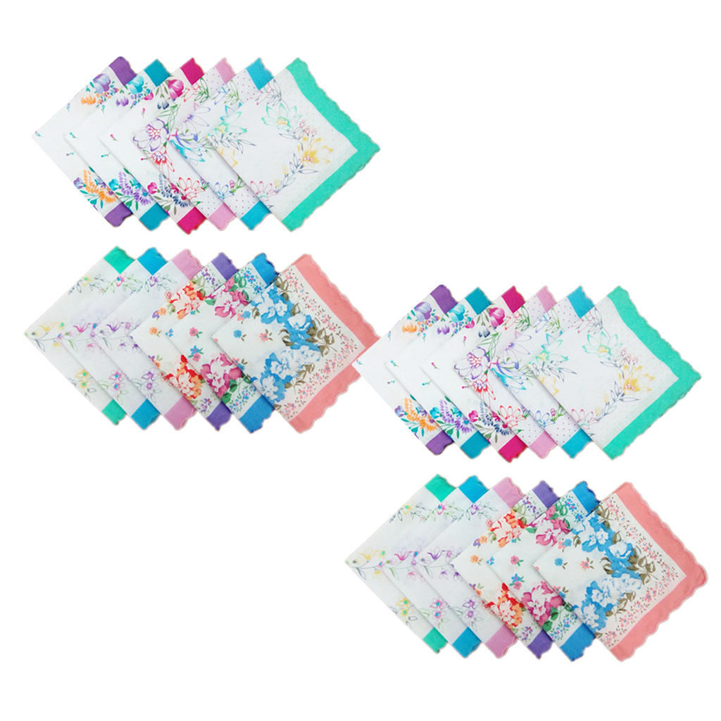 24pcs Cotton Handkerchiefs Flowers Pattern Handkerchief Square Clothes Accessories 30 X 30 Cm