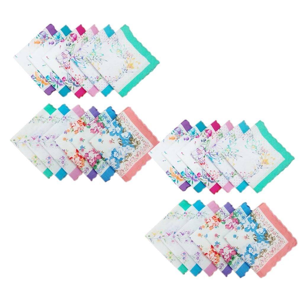 24pcs Cotton Handkerchiefs Flowers Pattern Handkerchief Square Clothes Accessories 30 X 30 Cm