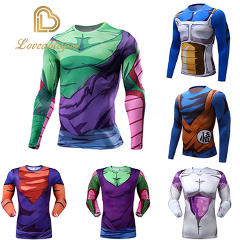 Mens Fitness Tee Anime Dragon Ball Z Costume Cosplay Sports T-Shirts Super Saiyan Vegeta Goku T Shirt