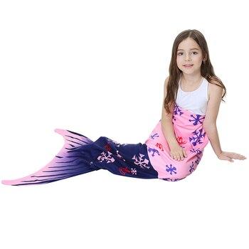 2020 Kids Mermaid Tail Warm Soft Mermaid Tail Blanket Knitted Mermaid Blanket for Girls Throw Bed Wrap Sofa Mermaid Sleeping Bag фото