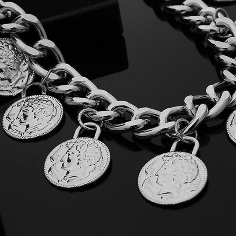 Vintage Gypsy Metal Dangle Waist Belt Chain Carved Coin Portrait Pendant Tassel LX9E