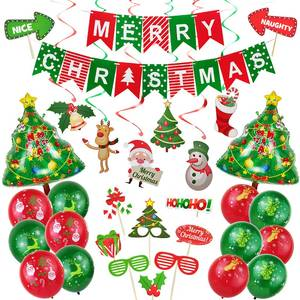 Banner Navidad Photo-Booth-Props Balloons Christmas-Decorations Happy Home