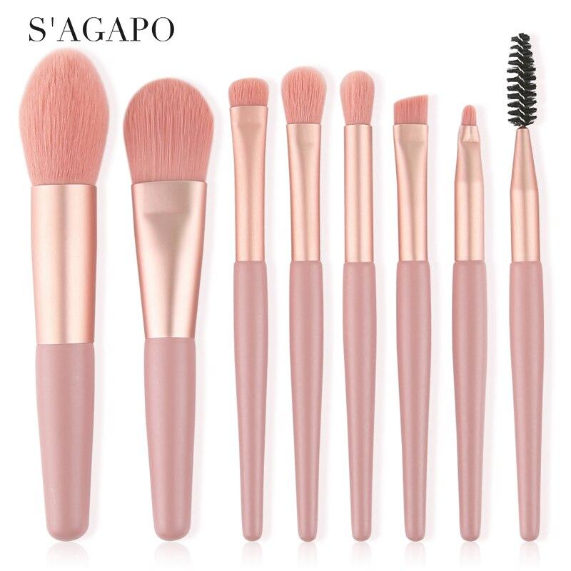 S'AGAPO 8pcs Mini Matte Makeup brushes set Wooden handle Eyeshadow Eyebrow Foundation Blush Loose powder Lips Face Makeup tools