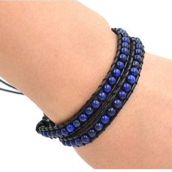 Bracelet Cuir Lapis Lazuli Bleu