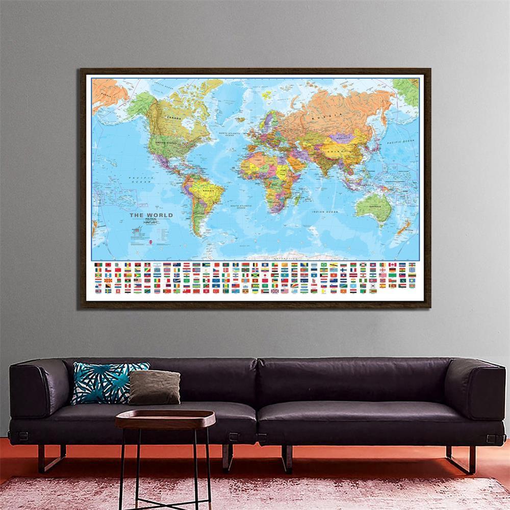 150x100cm o mapa físico político do mundo dobrável sem desvanecimento mapa do mundo com bandeiras nacionais para cultura e viagens
