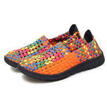 Mesh Sneakers Woven Shoes Women's Flat-Shoes Lightweight Breathable Plus-Size Fashion