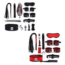 Dildo Vibrator Anal Plug Handcuff Whip Nipple Clip Blindfold Breast Pump BDSM Games Adult Sex Toy Kit For Couples