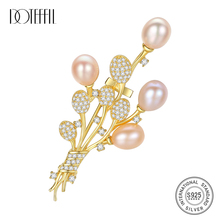 Gold-Brooch Jewelry Charm Pearl 925-Sterling-Silver Zircon Flowers DOTEFFIL Wedding