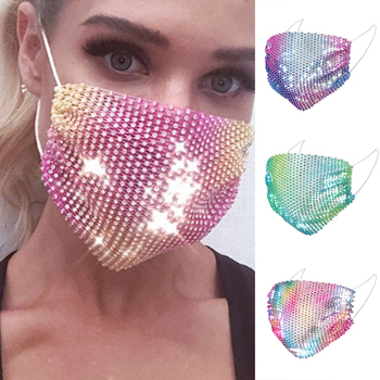 1PC Anti-Dust Mouth Mask Shining Multicolor Diamond Reusable Face Nose Mouth Adjustable Shiny